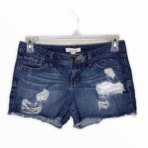 2.1 Denim Distressed Denim Shorts